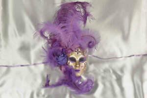 Purple and Gold Venetian Masquerade Wall Decor Mask - Volto Fiore