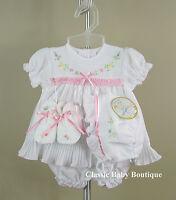 Will'beth White Pleated Ribbon Dress 4pc Set Preemie Bonnet Booties Girls