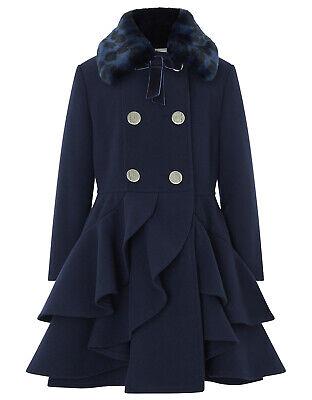 Girls Monsoon Navy Tallulah Princess Fur Ruffle Winter Dress Coat 3 10 Years   eBay