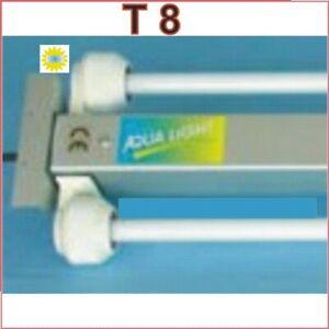 Languette lumineuse en aluminium à encastrer 2x30 Watt pour tubes T8-26mm Spritzwasserdi
