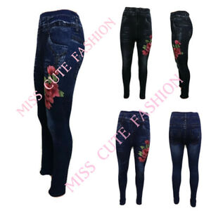 42cee36031e48e Image is loading WOMENS-LADIES-STRETCH-THERMAL-LEGGINGS-FLOWER-PATCH-FLEECE-