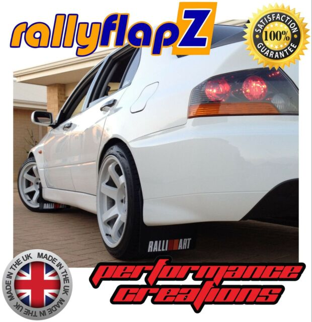 rallyflapZ MITSUBISHI EVO 4 x4 Mudflaps Kit Black Ralliart White 4mm PVC 96-98