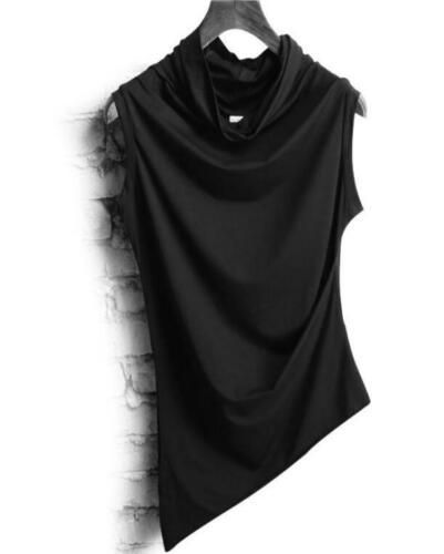 Mens Summer Korean Sleeveless Vest Shirt Tops Irregularity Slim Fit Fashion Punk