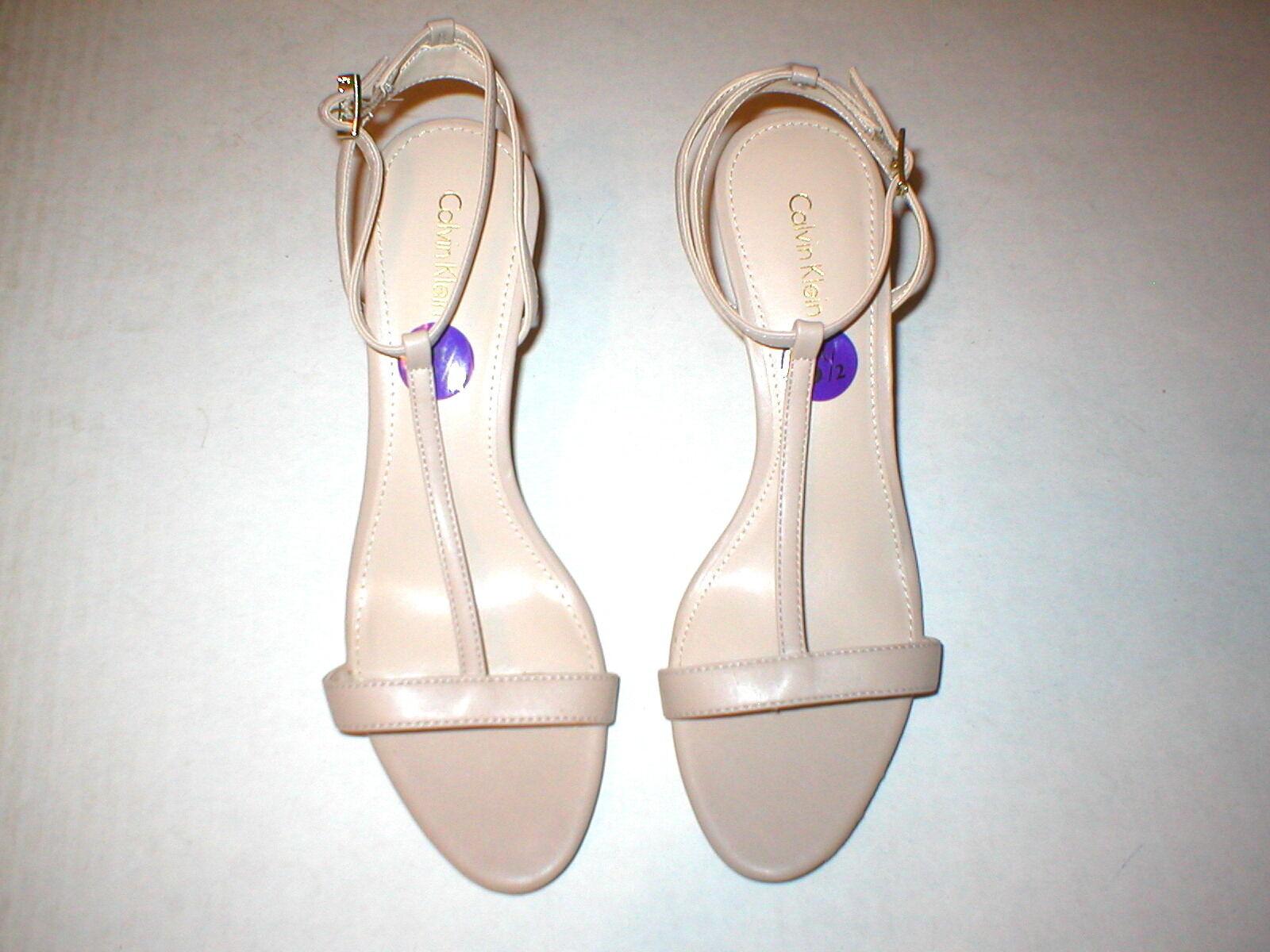 NEU Damenschuhe 8.5 Calvin Klein Lola Heels Schuhes Tan Khaki Sandale Open toe Leder