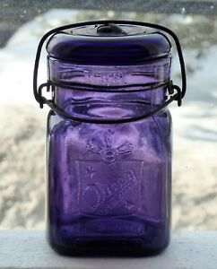 Antique-pint-size-QUEEN-purple-fruit-canning-jar-Boston-FREE-SHIPPING