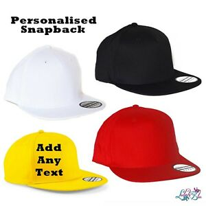 10bd1c06e9460 Details about Personalised Snapback Cap - Customised Flat Peak - Band -  Rapper - Promo - Cool