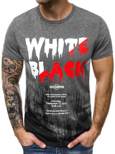 T-shirt manches courtes T-Shirt Avec Motif U-neck Slim Fit Fitness OZONEE js//ss726 Hommes