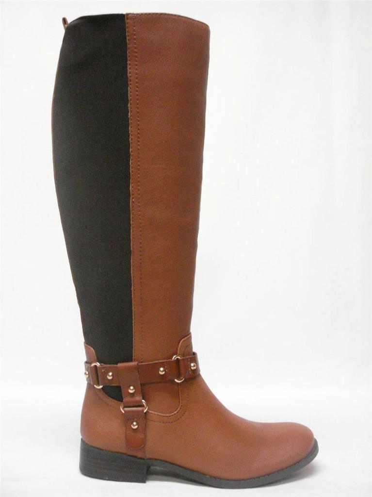 Neu in Box Jessica Simpson Reade Cognac Leder Stretch Reiter Stiefel Größe 6M