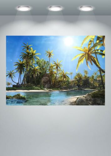 Tropical Beach Sea Island Palm Tree Paradise Landscape Large Poster Art Print