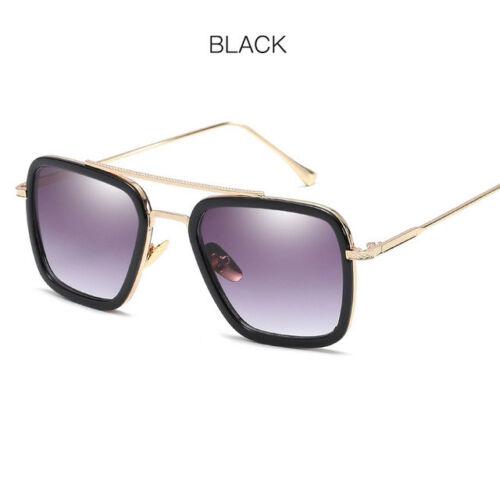 SIMPRECT Tony Stark Sunglasses Men Square Gradient Metal Mirror Sun Glasses