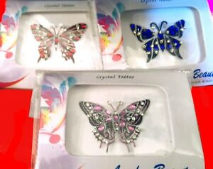 London-Beauty-CRYSTAL-BUTTERFLY-Body-Art-Adhesive-TATTOO-in-RED-BLUE-PINK-1-5x2-034