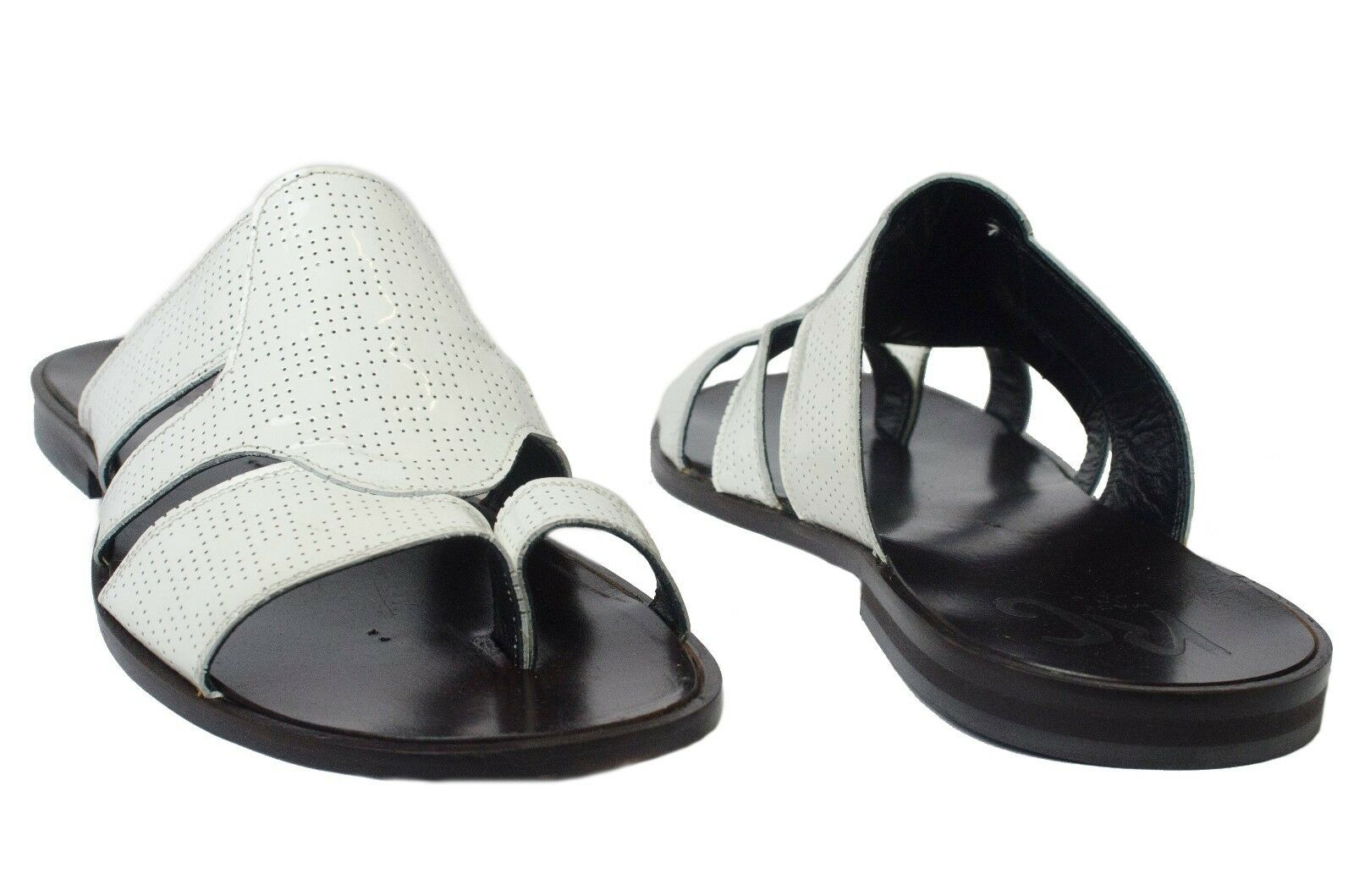 Roberto Guerrini S2002 Italian mens Weiß patent leather push sandals in toe sandals push 8ad055