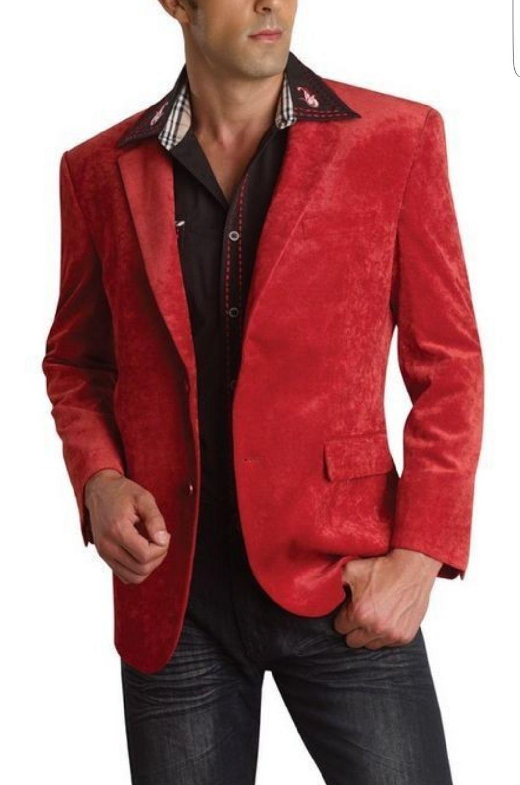 Preiselbeere Roter samt Blazer Sport Mantel für Herren. Alle Größen,