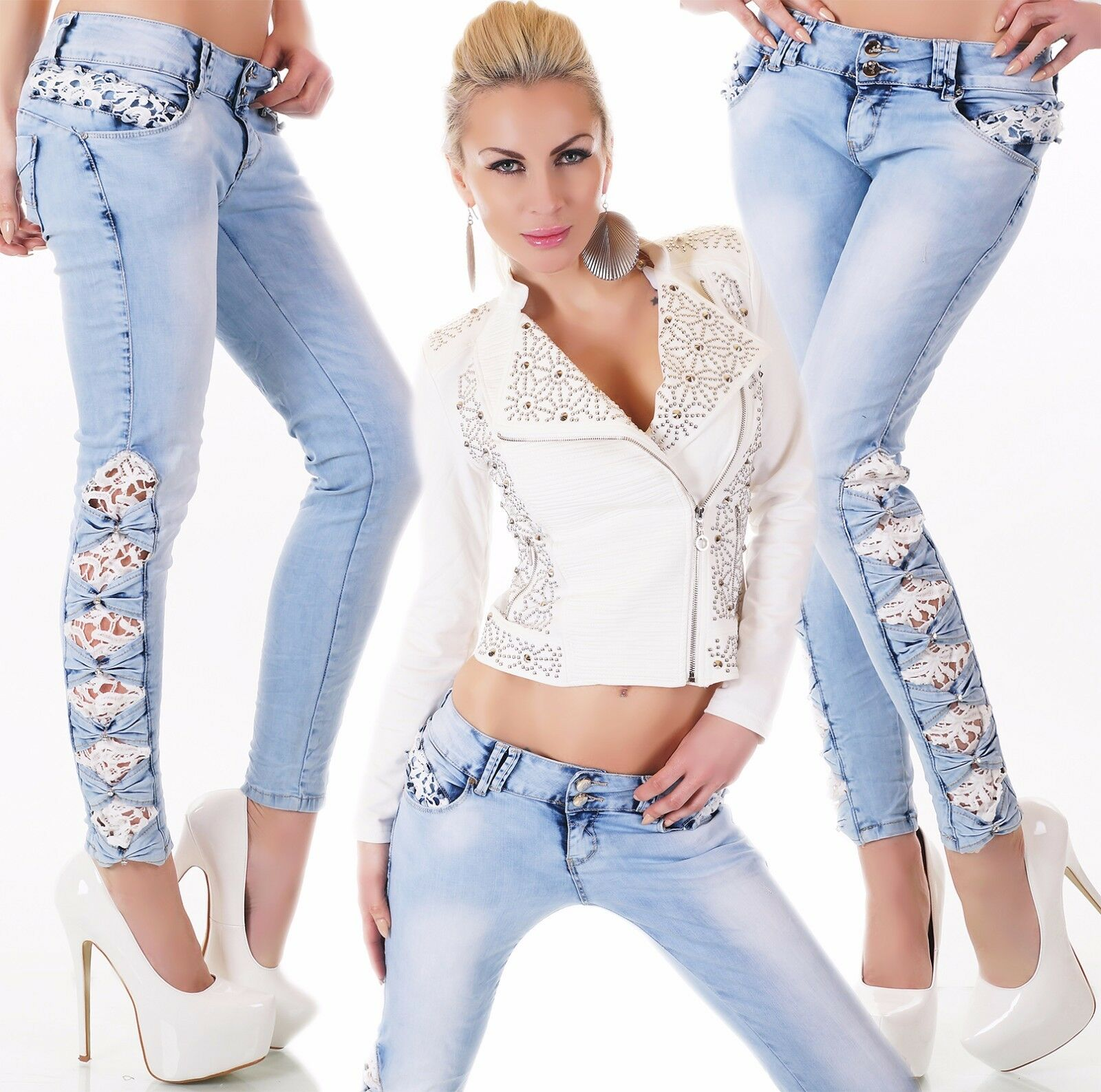 Sexy Hipster Jeans Trousers Skinny Tube Crochet Lace Embroidery Light bluee XS-XL