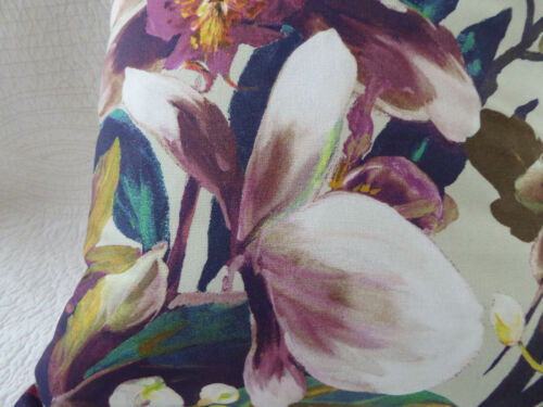 """18/"""" inch Cushion Cover Purple Pink Green Teal Flower Orchid Print Handmade 45cm"""