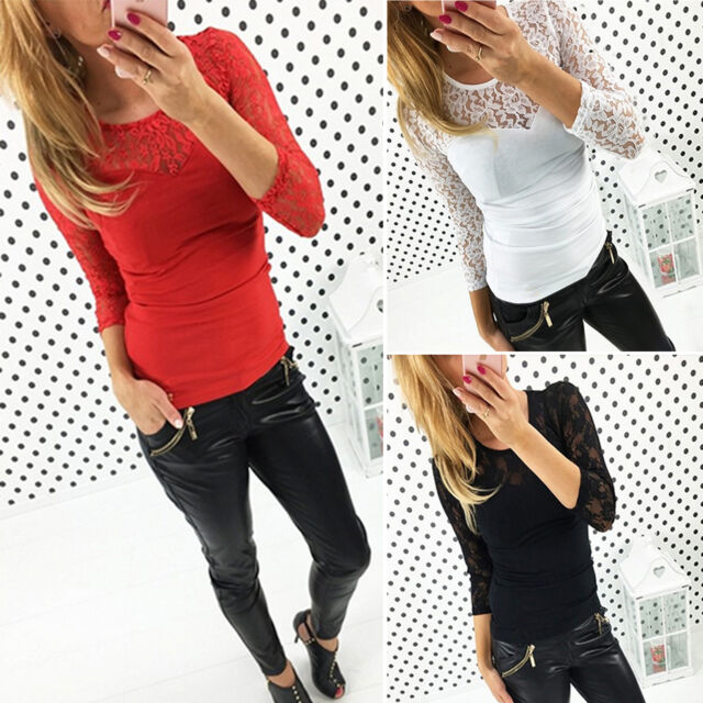 Womens Lace Spliced Long Sleeve Slim Fit Tops Casual Blouses Shirts T-Shirt New