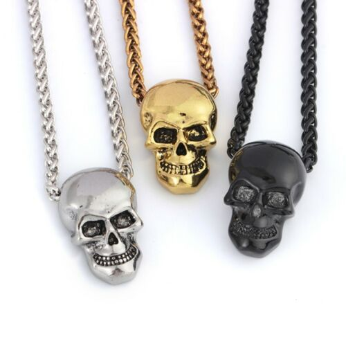 Punk HIP HOP Fashion Mens Skull Head Chain Pendant Necklace Halloween Gift
