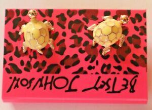 Betsey-Johnson-Crystal-Rhinestone-Enamel-Turtle-Post-Earrings