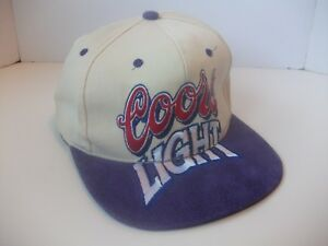 VTG-Coors-Light-Spell-Out-Beer-Hat-Strapback-Baseball-Cap-w-Purple-Suede-Bill