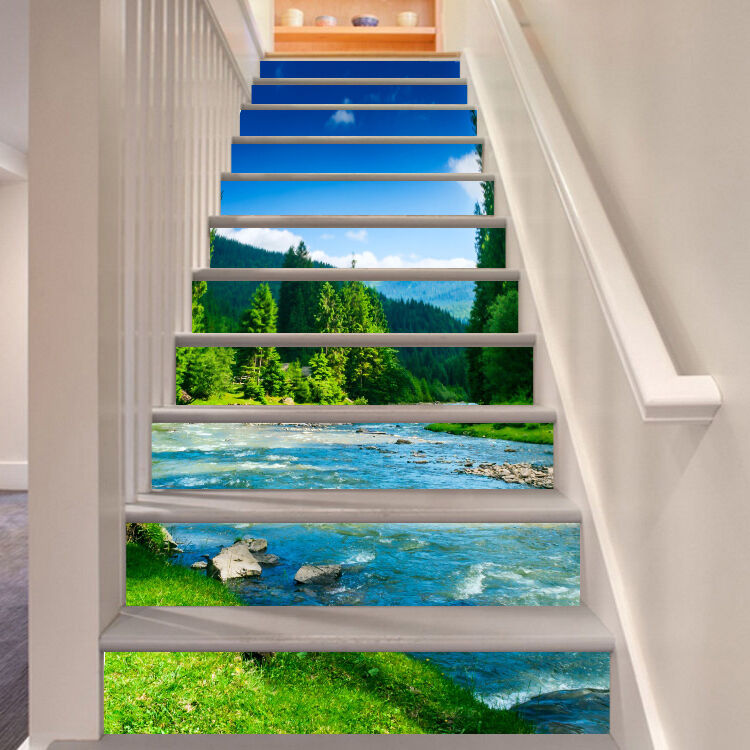 3D River Trees 76 Stair Risers Decoration Photo Mural Vinyl Decal WandPapier CA
