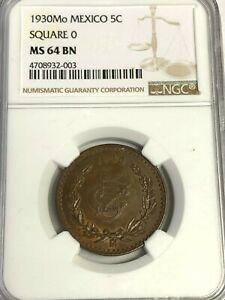 1930-MEXICO-5-Centavos-SQUARE-O-NGC-MS-64-BN-TOP-POP