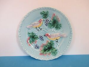 Majolica-034-Birds-and-Grapes-034-7-3-4-034-Plate-Germany
