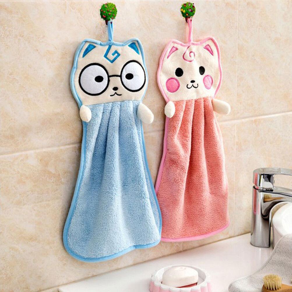 cat Hand Towel Cartoon Thickened Kitchen Hanging Washcloth Bath Water Dry_hg
