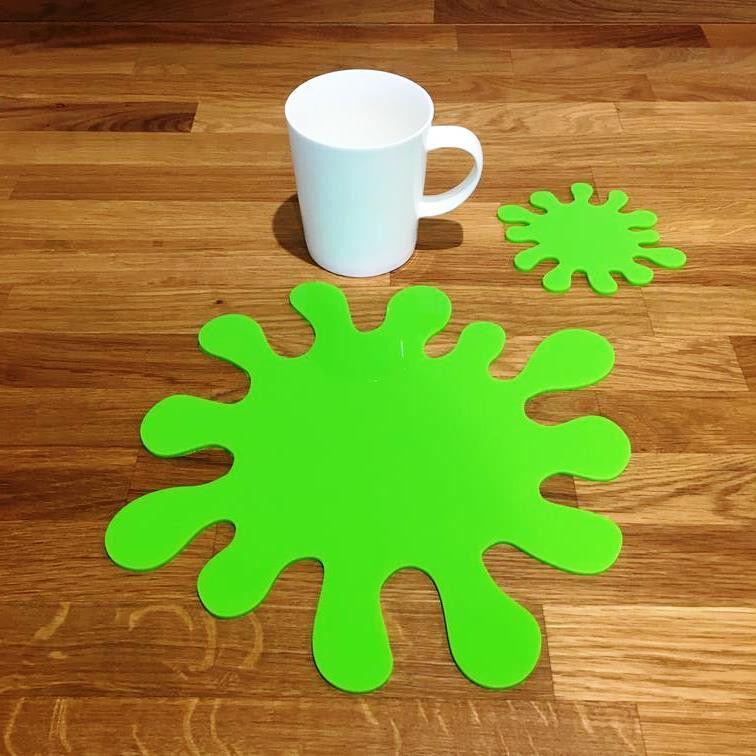 Splash Shaped Placemat and Coaster Set - Lime Grün