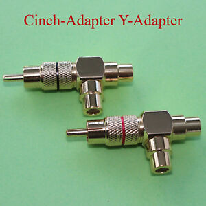 Paar-Cinch-Adapter-Y-Adapter-T-Cinch-Stecker-auf-2-x-Cinch-Kupplung-Chinch-89