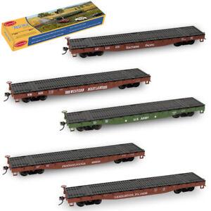 1pc/2pcs/3pcs/5pcs HO Scale 52ft Flat Car 1:87 Rolling Stock Freight Car