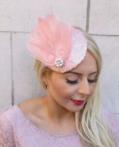 Image is loading Rose-Gold-Blush-Pink-Cream-Sequin-Feather-Fascinator- 189be99b395