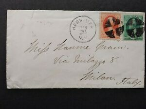 New-York-Herkimer-1878-circa-2c-amp-3c-Banknote-Cover-to-Italy