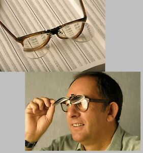 Clip-On-Flip-Up-Magnifying-Reading-Glasses-Magnifiers-Lenses-x1-5-x2-5-x3-0-x4-0