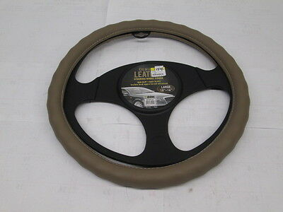 "BDK Genuine Leather Tan Beige Steering Wheel Cover Large 15"" - 16"" Universal"