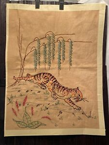 Vtg-Finish-Tiger-Needlepoint-Handmade-Picture-Chair-Seat-Pillow-Upholstery-Cover