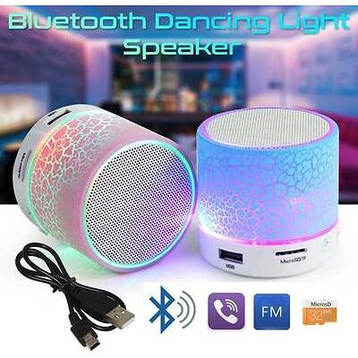 Portable Mini Bluetooth Speaker With USB AUX MicroSD Slot With LED Lights