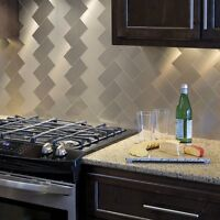 Champagne Metal Peel And Stick Backsplash 3 In X 6 In, Brushed Stainless Tiles