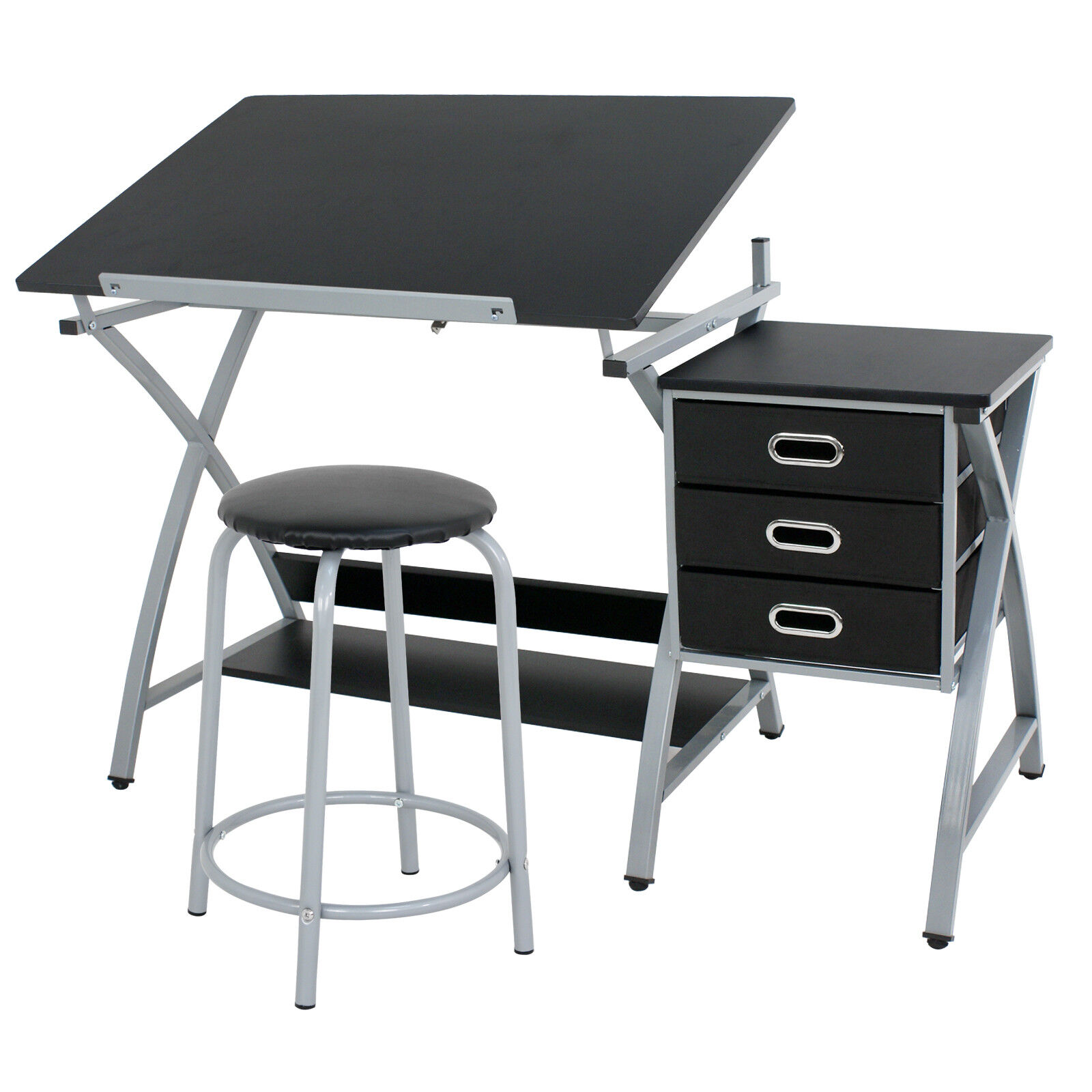 Drafting Table Station Glass Top Drawing Desk Craft Station Artist Multi Type Art Supplies