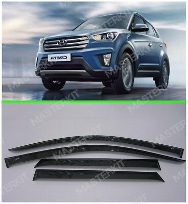 Side Window Visors Sun Rain Guard Vent Deflectors for Hyundai Creta 5d 2016-2019