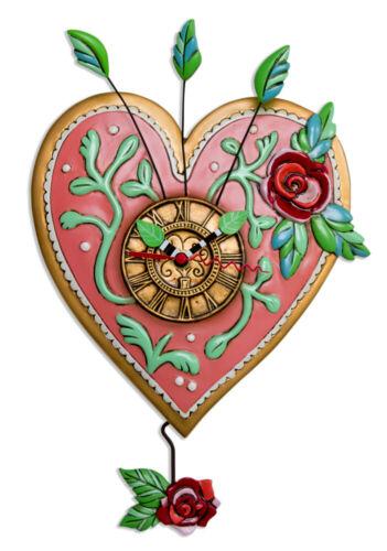 Gorgeous Pink Heart LOVE BLOOMS Designer Wall Clock by Allen Designs