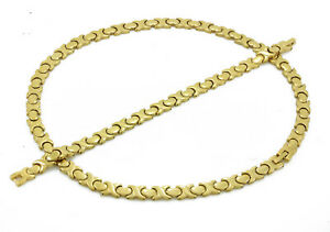Hugs-and-Kisses-Necklace-Stampato-Stainless-Steel-Gold-Plated-18-034-Bracelet-Set