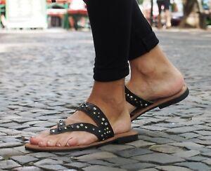 LAZAMANI-Damensandalen-black-Sommerschuhe-Echtleder-Sandalen-Slipper-683-NEU