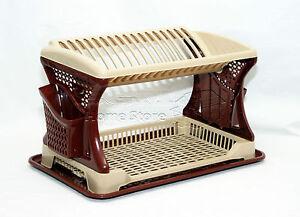 Plastic-Dish-Drainer-Stylish-Design-Two-2-Layer-Rack-Utensil-Cutlery-BROWN