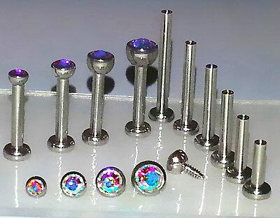 18g 1.5,2,2.5or 3mm AURORA AB Tragus Cartilage TRIPLE FORWARD HELIX Stud Jewelry