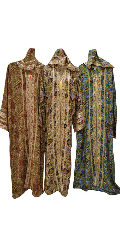 Mgoldccan kaftan farasha hood long ladies dress hood summer gold bluee elegant new
