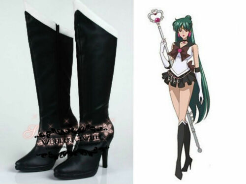 Sailor Moon Sailor Pluto Black Cosplay shoes boots Custome Customized shoes H.29