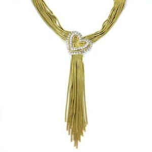 Designer-Harpo-039-s-3Carat-Diamond-18k-Gold-Multi-Snake-Chain-Heart-Tassel-Necklace
