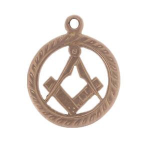Antiguedad-Azul-Lodge-Colgante-9k-Oro-Masonico-Escuadra-y-Compas