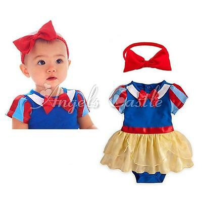 2PCS Halloween Girls Romper Dress Snow White Princess Headband Outfit Costume