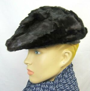 1695 RUNWAY Burberry Prorsum MINK Fur Calf Leather L Flat Cap Hat ... e7830868fb7
